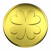 Gold Coin Money, With Four-leaf Clover Symbol