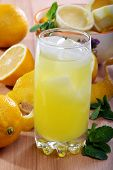 Lemonade From Fresh Lemons, Ice And Mint In A Vertical Format.