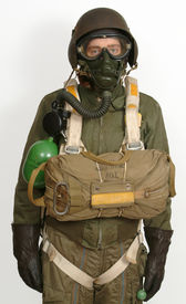 picture of b24  - Reconstruction of a WW11 American airman in full bailout equipment including parachute and portable oxygen - JPG