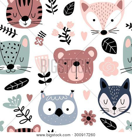 poster of Eamless Pattern With Cute Animals And Flowers In Scandinavian Style. Animal Heads Cartoon Background