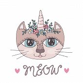 Cartoon Colorful Cat With Corn With Flower On The Head For Coloring Book Or Pages poster