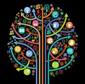 the tree consisting of the arrows and icons on the topic of  social media