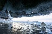Ice Cave At Baikal Lake, Siberia, Russia poster