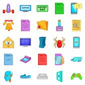 Spyware Icons Set. Cartoon Set Of 25 Spyware Icons For Web Isolated On White Background poster