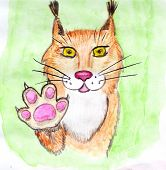 Red Lynx With Raised Right Paw. Pink Paw Pads, Greeting Gesture. Hand Drawn Watercolor Illustration, poster