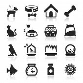 Pets icons set Elegant series