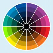 picture of color wheel  - Classic color wheel with colors progressing into the darker shades - JPG