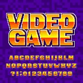 Video Game Alphabet Font. Digital Pixel Gradient Letters And Numbers. 80s Retro Arcade Video Game Ty poster