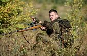 Hunter Hold Rifle. Hunting Permit. Bearded Serious Hunter Spend Leisure Hunting. Hunting Equipment F poster