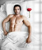 Portrait of a sexy muscular male model waiting in modern bed with single red rose on pillow