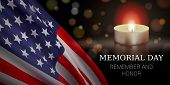 Memorial Day Vector Banner Design Template With Realistic American Flag, Candle, And Text For Rememb poster