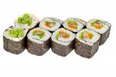 Sushi Roll Japanese Food Isolated On White Background Maki Sushi Roll With Tuna Salad And Caviar Clo poster