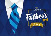 Happy Fathers Day Greeting Card. Banner Concept With Striped Blue Tie And Mens Sweater Rhombus Shape poster