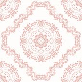 Classic Seamless Pattern. Damask Orient Light Pink Ornament. Classic Vintage Background poster