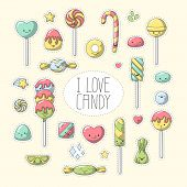Candy Sticker. Set Of Cute Cartoon Candy Characters. Vector Collection For Stickers, Patches, Badges poster