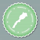 Morocco Sticker Flat Design. Round Flat Style Badges Of Trendy Colors With Country Map And Name. Cou poster