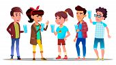 Thirsty Characters Children Drink Water Vector. Smiling Teenagers Holding Glasses With Freshness Bev poster