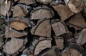 A Pile Of Stacked Firewood, Prepared For Heating The House. Firewood Harvested For Heating In Winter poster