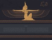 Vector Design Template Egyptian Fertility Goddess Isis Isolated On The Hand-drawn Background From Eg poster