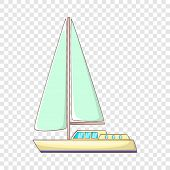 Sailing Yacht Icon. Cartoon Illustration Of Sailing Yacht Vector Icon For Web poster