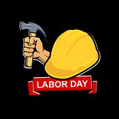 Happy Labour Day Vector On Black Background, Vector Illustration Happy Labour Day Celebration, Worke poster