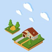 Vector Isometric Rural House. Isometric Suburban Set For Infographic. Flat Style. 3d Isometric Campi poster