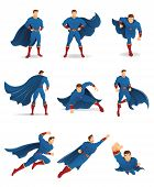 Superhero In Action. Set Of Superhero Character In 9 Different Poses With Blue Cape And Blue Suit. Y poster