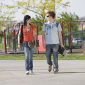 Teens Couple Walks