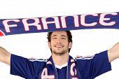 French soccer fan waving scarf