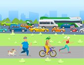 City Traffic With Transport Vehicles Banner. Set Of Transportation Tools With Bus, Bicycle, Cars And poster