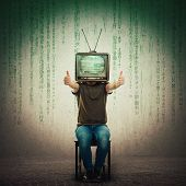 Excited Man Seated On A Chair With An Old Tv Instead Of Head Showing Thumbs Up, Positive Feedback Li poster