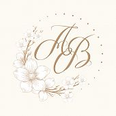 Elegant Floral Monogram With Two Letters Ab. Design Template Floral Frame, Leaves And Elements, Call poster