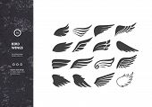 Bird Wings. Set Of Template Birds Arms. Vector Sign For Tattoos, Logos, Labels And Icons. Decorative poster