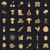 Land Icons Set. Simple Style Of 36 Land Vector Icons For Web For Any Design poster