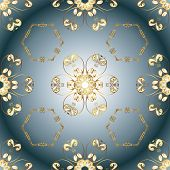 Traditional Orient Ornament. Seamless Classic Vector Golden Pattern. Seamless Pattern On Blue And Ne poster