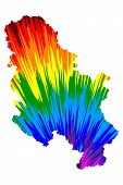 Serbia - Map Is Designed Rainbow Abstract Colorful Pattern, Republic Of Serbia Map Made Of Color Exp poster