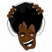 Afro Frisur Cartoon Musik Gesicht