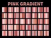 Pink Metallic Gradients. Golden Rose Gradient Foil, Shiny Roses Metallic Plate Border Frame Ribbon C poster