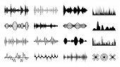 Sound Waves Set. Black Digital Radio Musical Wave. Audio Soundtrack Shapes. Player Pulse Amplitude F poster