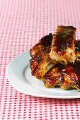 Cut Up Barbecue Spare Ribs