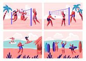 Beach Volleyball And Surfing Set. People Playing With Ball On Seaside And Surf Boards On Sea Waves.  poster