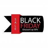 Black Friday Sale Label. Vector Ad Illustration. Promotional Marketing Discount Eventblack Friday Sa poster