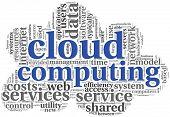 Wolke computing Konzept in Wort tagcloud auf weiß in Wolken-shape