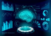 Brain Diagnostic Treatment Low Poly 3d Hud. Drug Nootropic Stimulant Smart Display. Medicine Cogniti poster