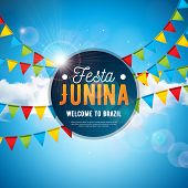 Festa Junina Illustration With Party Flags And Typography Letter On Blue Cloudy Sky Background. Vect poster