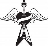Tattoo-style guitar illustration