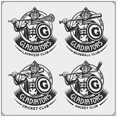 Cricket, Baseball, Lacrosse And Hockey Logos And Labels. Sport Club Emblems With Gladiator. Print De poster