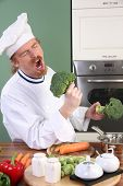 Funny Young Chef With Broccoli