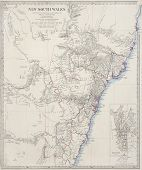 19th century map of new south wales and sydney, australia