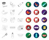 Dental Care Outline, Flat Icons In Set Collection For Design. Care Of Teeth Vector Symbol Stock Web  poster